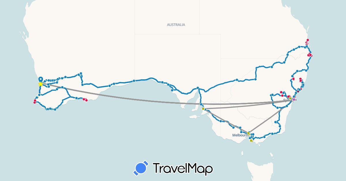 TravelMap itinerary: driving, plane, train, boat, business vehicle, suzuki, monte carlo, other vehicle, bravo ute in Australia (Oceania)